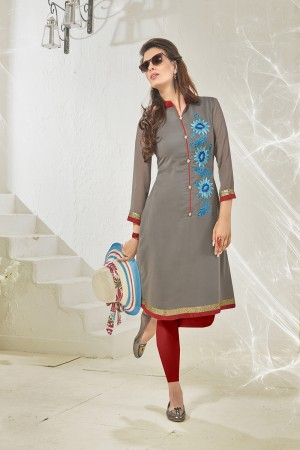Grey Georgette Heavy Embroidered Pattern Work and lining with Polyster Santoon Kurti