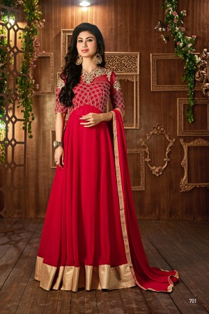 Red Georgette Heavy Embroidered On Nack and Sleeve with Lace Border Salwar Kameez