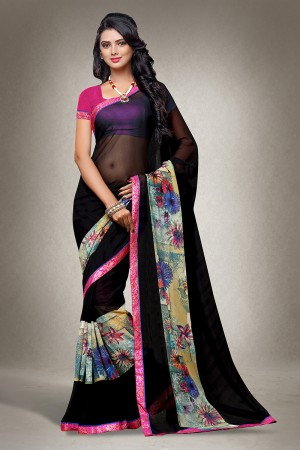 Black Georgette Floral Print with Lace Border Saree