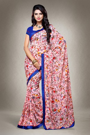 Pink Georgette Floral Print with Lace Border Saree