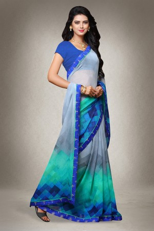 Multi Color Georgette Print with Lace Border Saree