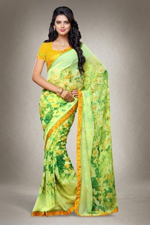 Green Georgette Floral Print with Lace Border Saree