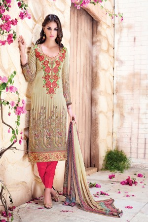 Cream Georgette Digital Print with Nack Border Embroidery Dress Material