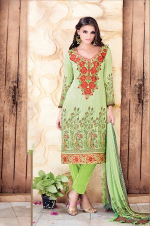 Green Georgette Digital Print with Nack Border Embroidery Dress Material