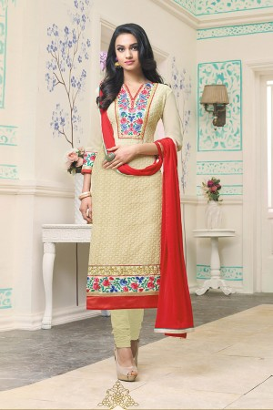 Yellow Georgette Heavy Embroidery Work on neckline and sleeve with embroidered lace border Salwar Kameez