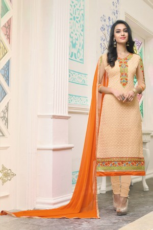 Peach Georgette Heavy Embroidery Work on neckline and sleeve with embroidered lace border Salwar Kameez