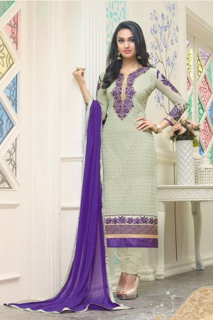 Pista Georgette Heavy Embroidery Work on neckline and sleeve with embroidered lace border Salwar Kameez