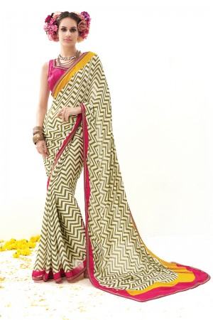 Mehendi Silk Jequard Print Work with Embroidered Lace Border Saree with Blouse