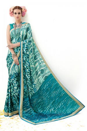 Rama Pure Silk Print Work with Embroidered Lace Border Saree with Blouse
