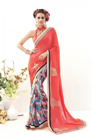 Gajari Georgette Print Work with Embroidered Lace Border Saree with Blouse