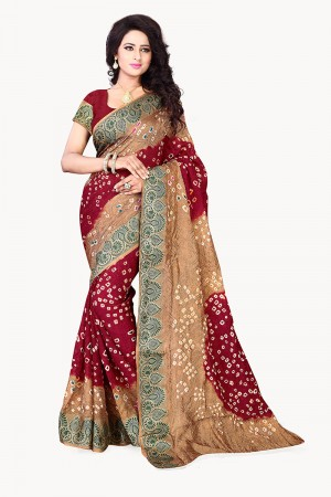 Beige & Maroon Cotton Silk Bandhani Saree
