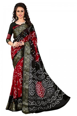 Black & Red Cotton Silk Bandhani Saree