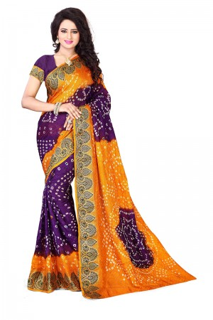 Mustard & Purple Cotton Silk Bandhani Saree