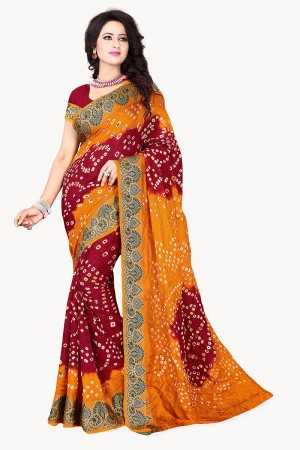 Mustard & Maroon Cotton Silk Bandhani Saree