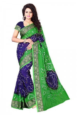 Green & Blue Cotton Silk Bandhani Saree