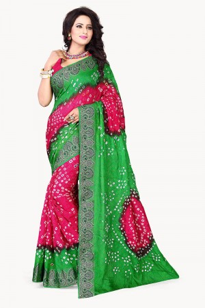 Green & Pink Cotton Silk Bandhani Saree