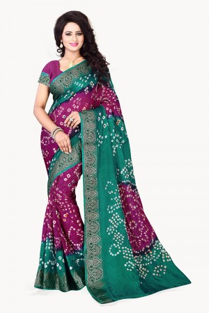 Meganta & Green Cotton Silk Bandhani Saree