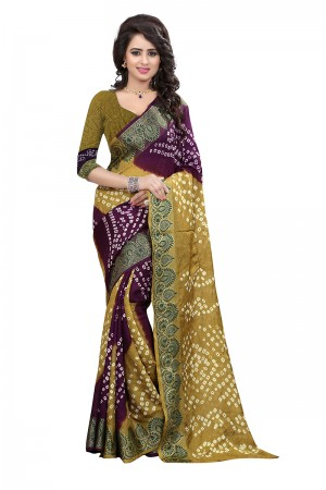 Mehandi & Purple Cotton Silk Bandhani Saree