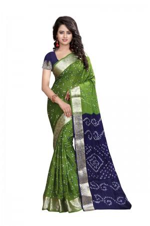 Green & Blue Cotton Silk Bandhani Saree