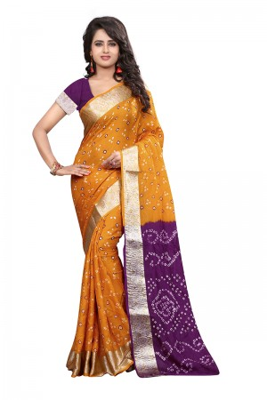 Mustard & Purple Cotton Silk Bandhani Saree