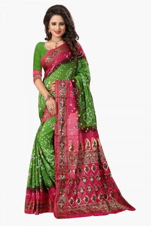 Charismatic Green & Pink Cotton Silk Bandhani Saree