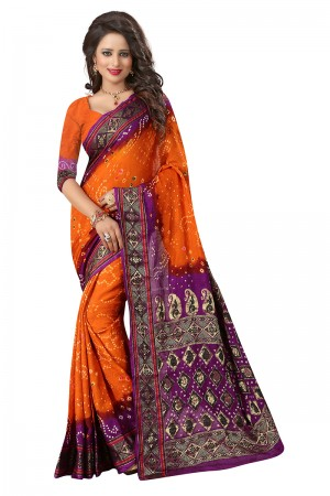 Vibrant Mustard & Purple Cotton Silk Bandhani Saree