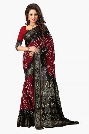 Pleasant Black & Red Cotton Silk Bandhani Saree