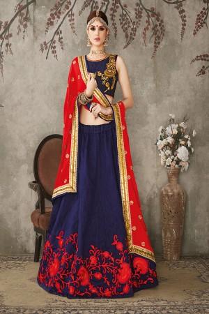 Blue Pure Silk Designer Heavy Embroidery Work Lehenga Choli