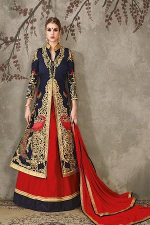 Red Pure Silk Designer Heavy Embroidery Work Lehenga Choli