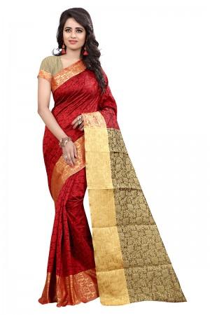 Refreshing Red Cotton Jacquard Saree