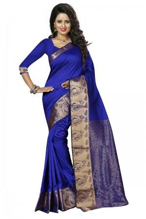 Royal Blue Cotton Jacquard Saree