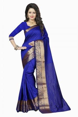 Voguish Blue Cotton Jacquard Saree
