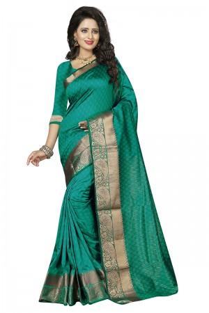 Attractive Rama Cotton Jacquard Saree