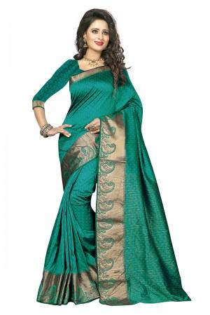 Captivating Rama Cotton Jacquard Saree