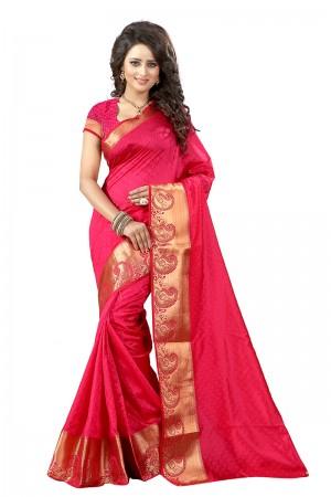 Luscious Pink Cotton Jacquard Saree