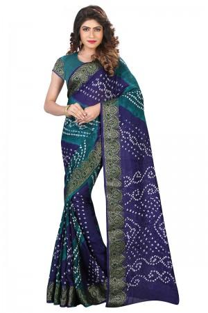 Distinctive Blue & Rama Cotton Silk Bandhani Saree
