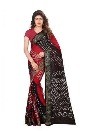 Ambitious Black & Red Cotton Silk Bandhani Saree