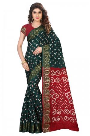 Dreamy Red & Rama Cotton Silk Bandhani Saree