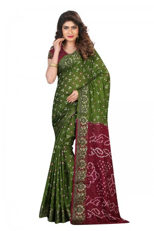 Designer Mahendi & Maroon  Cotton Silk Bandhani Saree