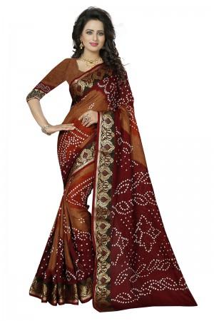Alluring Maroon & Beige Cotton Silk Bandhani Saree