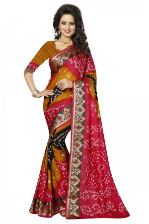 Enriching Pink & Mustard Cotton Silk Bandhani Saree