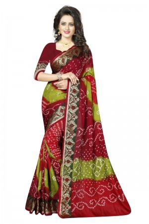 Glossy Multi Colour Cotton Silk Bandhani Saree
