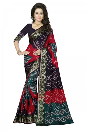 Sensuous Multi Colour Cotton Silk Bandhani Saree