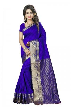 Impressive Blue Cotton Jacquard Saree