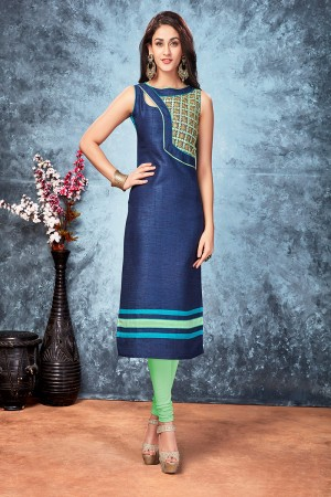 Navy blue chennai silk designer embroidered kurti