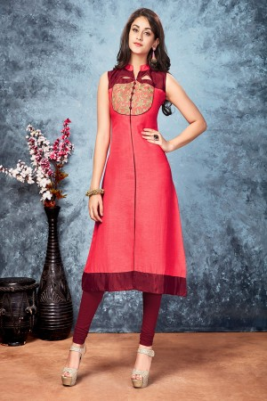 Salmon chennai silk embroidered designer kurti