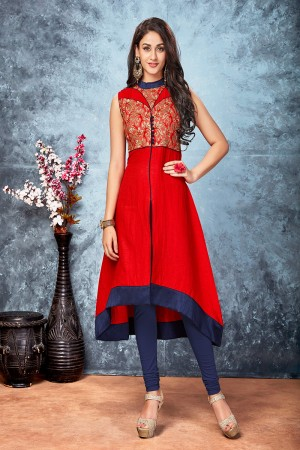 Maroon chennai silk embroidered designer kurti