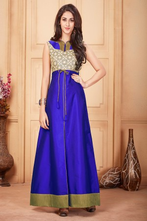 Royal Blue Taffeta Silk Embroidered Fashionable Gown