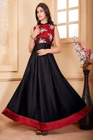 Black Taffeta Silk Embroidered Fashionable Gown