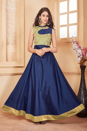 Beige & Navy Blue Taffeta Silk Designer Embroidered Gown
